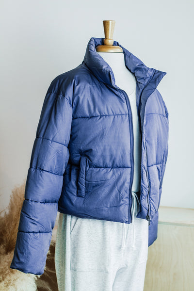 VAIL PUFF COLD WEATHER COAT IN INDIGO