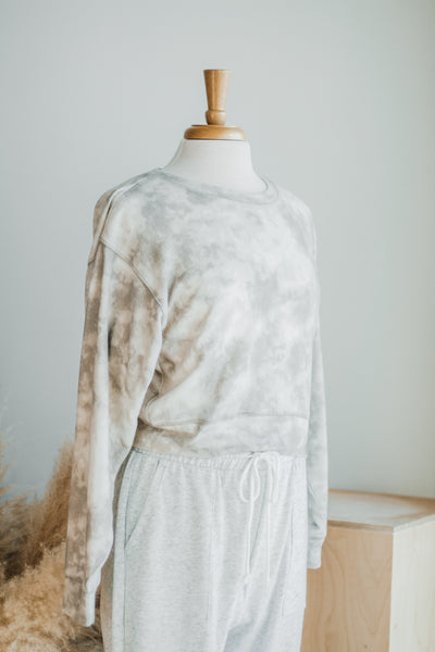 CLOUD NINE SOFT SWEATSHIRT IN MARBLE GREY