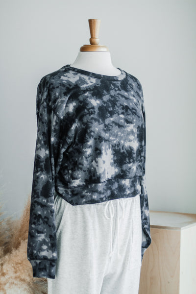 CLOUD NINE SOFT SWEATSHIRT IN MARBLE CHARCOAL