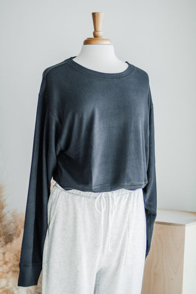 CLOUD NINE SOFT SWEATSHIRT IN CHARCOAL