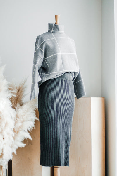 PANDORA CHARCOAL RIBBED SWEATER SKIRT