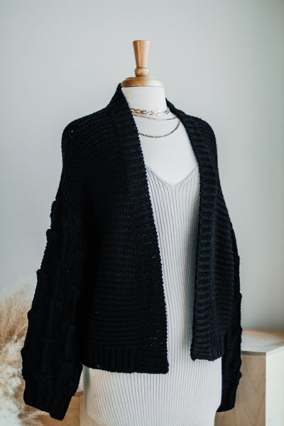 MAURY THICK CARDIGAN IN BLACK