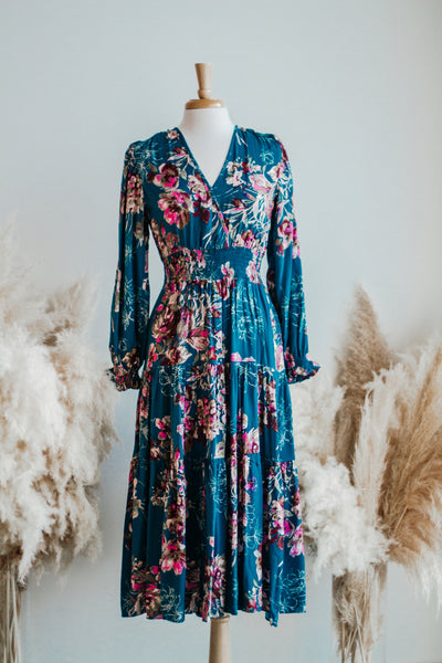 CLEO FLORAL MIDI DRESS IN TEAL