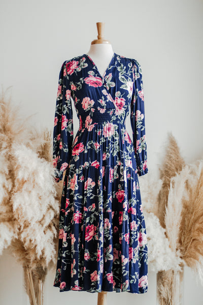 BORDEAUX FLORAL MIDI DRESS IN NAVY