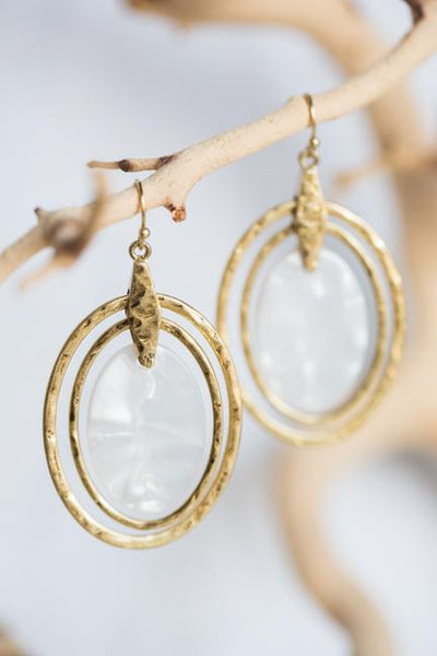 MOTHER OF PEARL MEDALLION EARRINGS