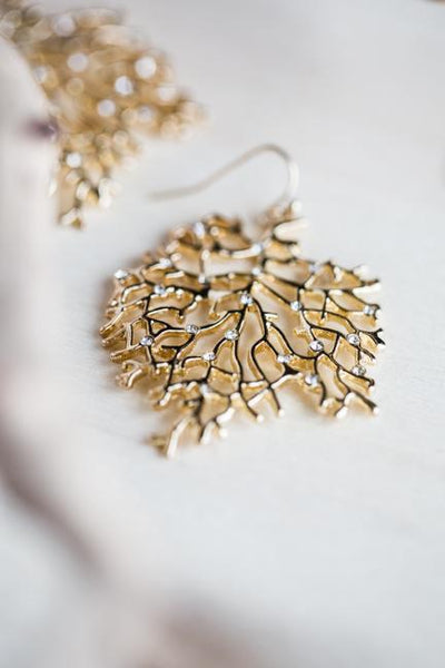 CORAL EARRINGS IN GOLD