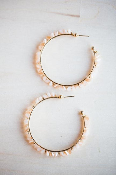 CRYSTAL HOOP EARRINGS IN BEIGE