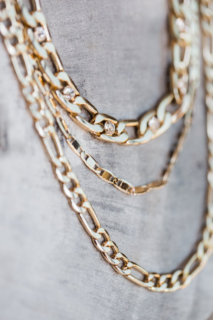 LANGFORD MULTI CHAIN NECKLACE IN GOLD