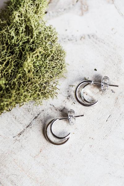 TEENY TINY SILVER HOOP EARRINGS