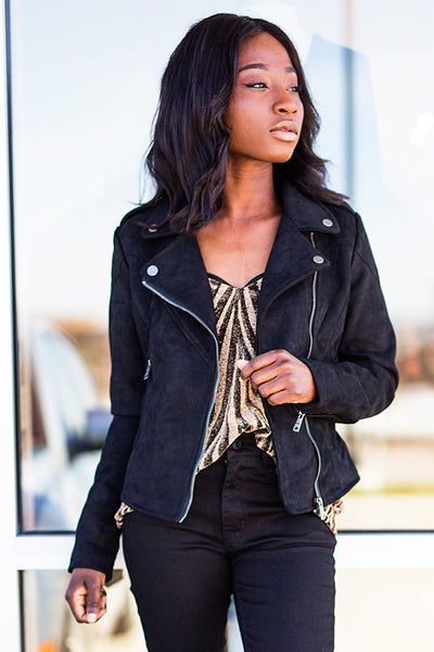 LEILA SUEDE MOTO JACKET IN BLACK