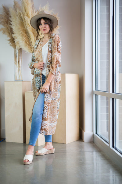 LAS CRUCES DUSTER KIMONO IN TAUPE