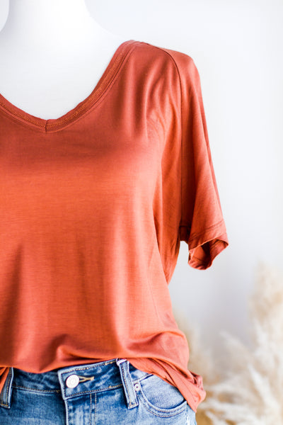 BASIC V-NECK TEE IN TERRA COTTA