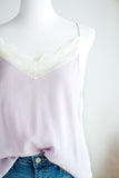 CHARLOTTE LACE DETAIL SILK CAMI IN LILAC