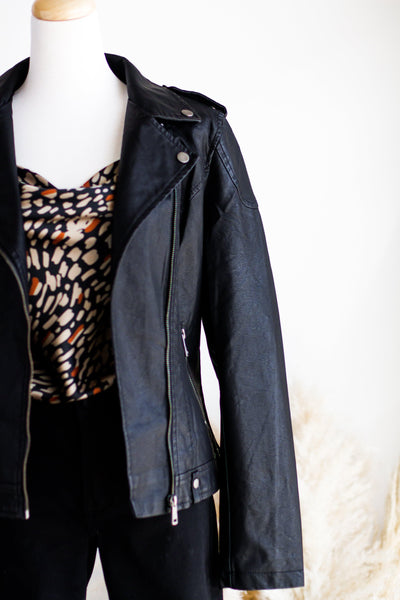 BILOXI VEGAN LEATHER MOTO JACKET