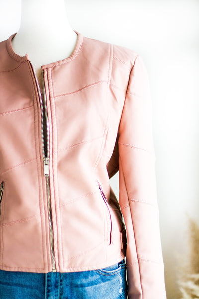 AMARA BLUSH VEGAN LEATHER MOTO JACKET