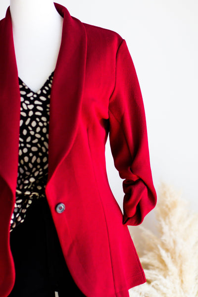 TAILORED STRETCH BLAZER IN RED