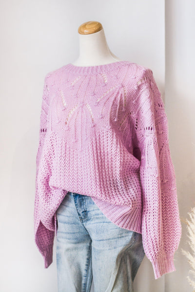 DEW DROPS KNIT SWEATER IN LILAC