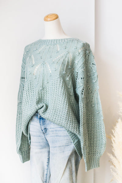 DEW DROPS KNIT SWEATER IN SKY BLUE