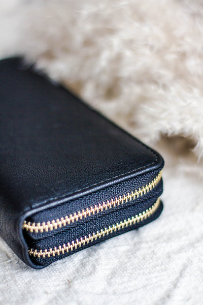SIMPLE DOUBLE WALLET IN BLACK