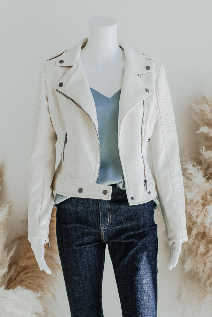 BLYTHE FAUX SUEDE MOTO JACKET IN CREAM