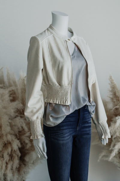 BACK TO REALITY CROP JACKET IN CREAM