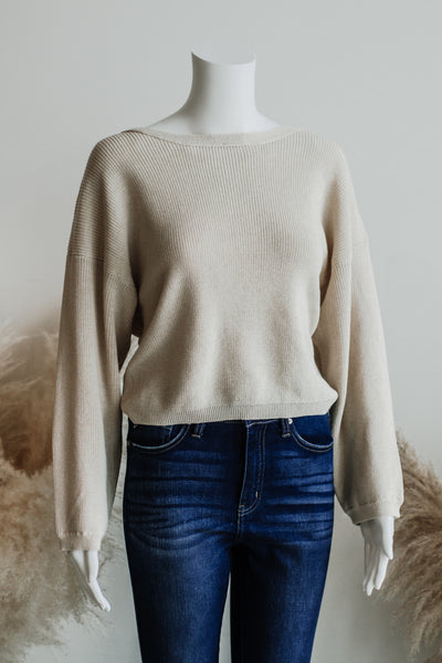 MALIBU OPEN BACK SWEATER IN NATURAL