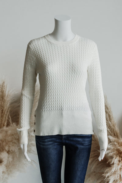 CABLE CHAIN KNIT TOP IN CREAM