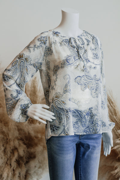 ADELINE PAISLEY PEASANT BLOUSE IN IVORY