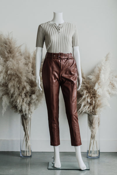 PAM VEGAN LEATHER TROUSER IN CHESTNUT