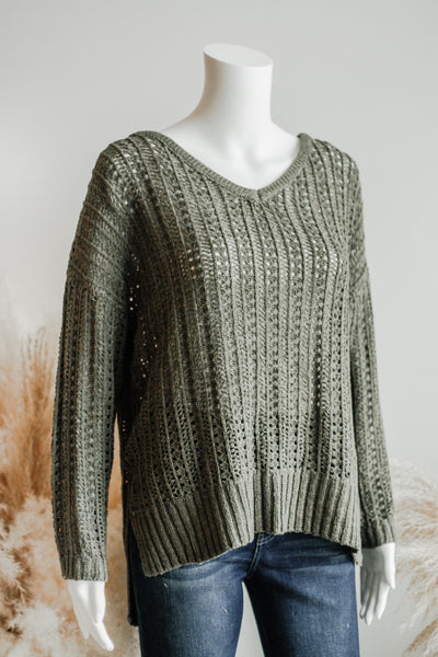 BRAY RIBBON KNIT SWEATER IN OLIVE
