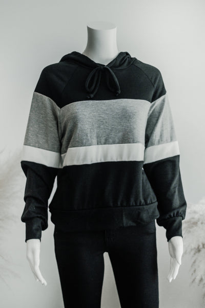 MONOTONE COLOR BLOCK HOODIE IN BW