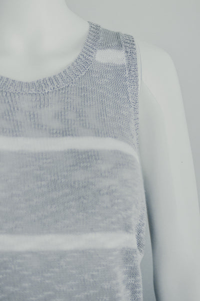 LENI STRIPE SWEATER TANK IN GREY