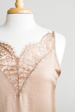PRETTIEST LACE SATIN CAMI TANK IN TAUPE