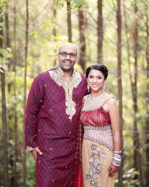 Brides Stylish Sangeet Lehenga and Grooms Matching Kurta Pajama.