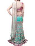 LILAC AND SEA GREEN BRIDAL LEHENGA