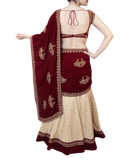 MAROON AND CREAM LEHENGA SAREE