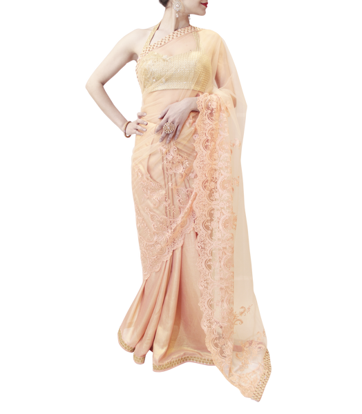 BABY PINK AND GOLD SAREE