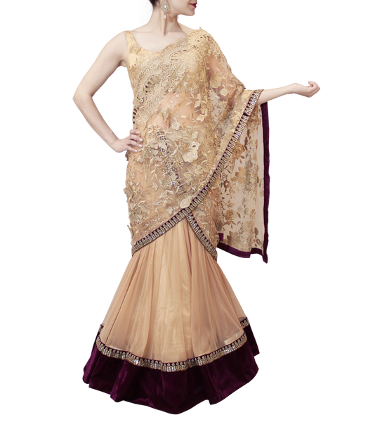 GOLD AND PURPLE LEHENGA SAREE