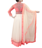 WHITE AND PINK HEAVY ANARKALI