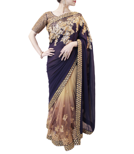 BLUE AND BROWN SAREE