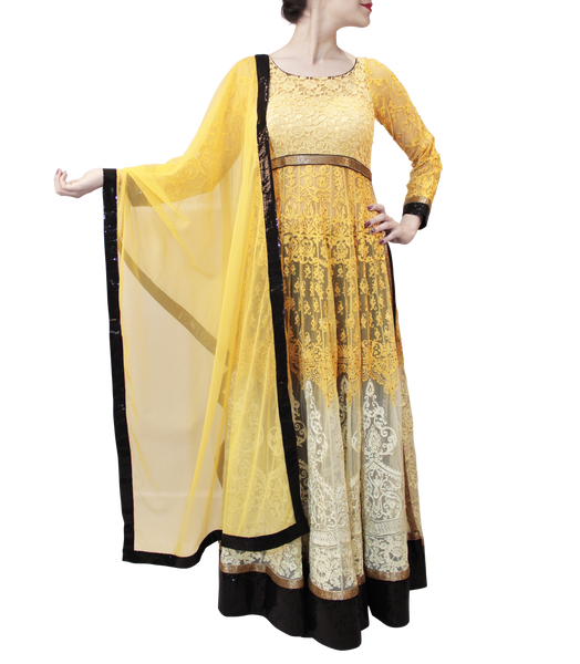 YELLOW HEAVY ANARKALI