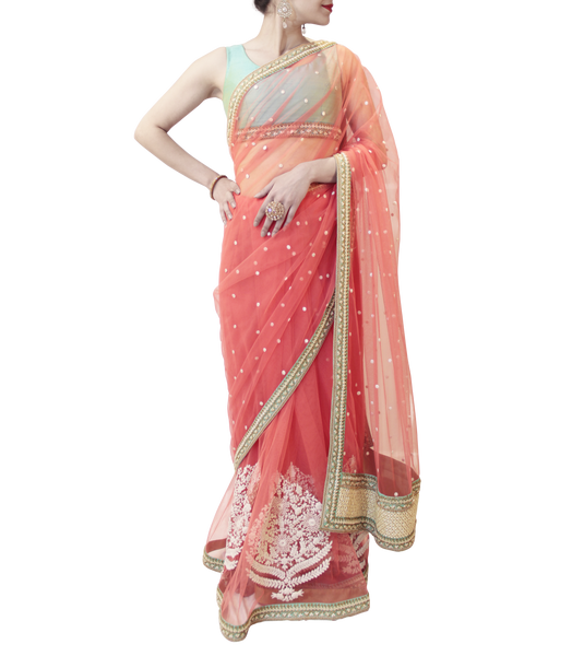 PEACH AND SEA GREEN SAREE