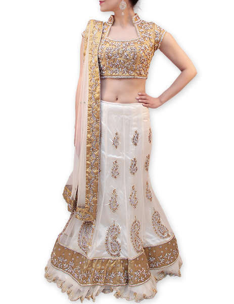 GOLD AND WHITE BRIDAL LEHENGA