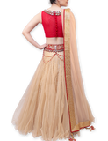 "GOLD AND MAROON ""BOUNCE"" LEHENGA"