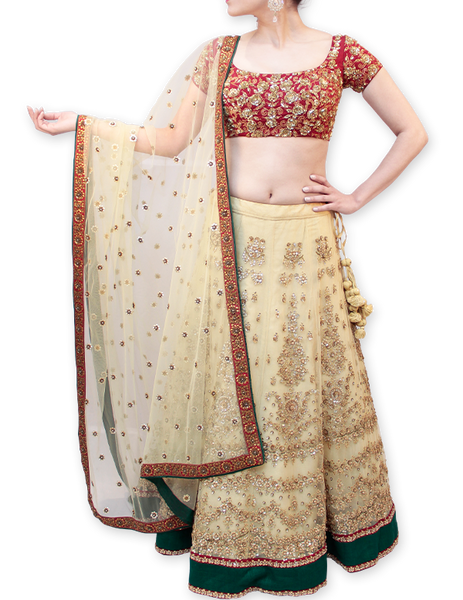 CREAM AND MAROON BRIDAL LEHENGA