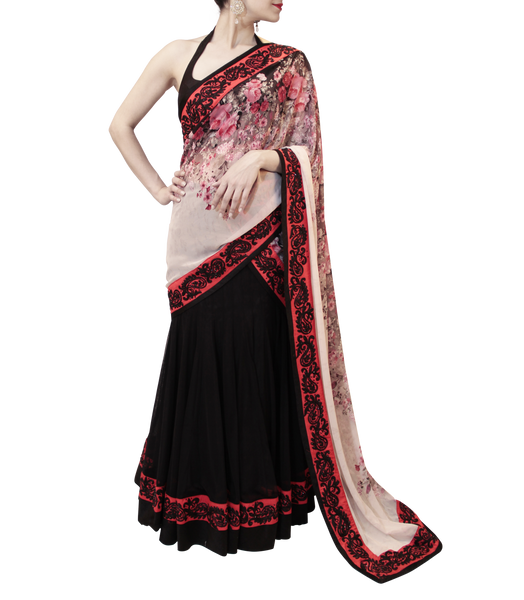 BLACK AND RED LEHENGA SAREE