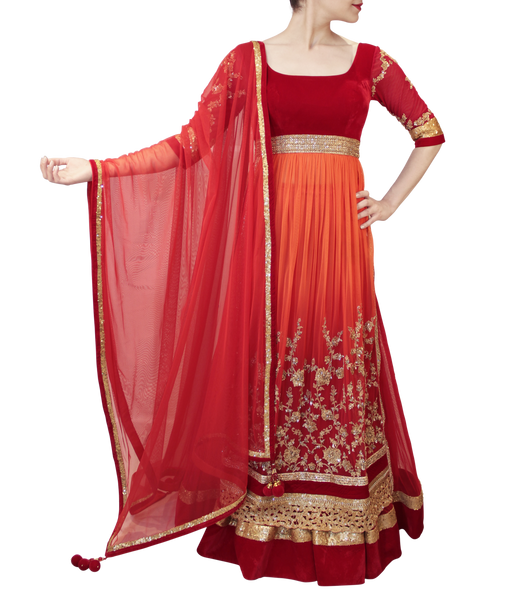RED AND ORANGE LACHA STYLE