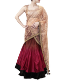 BROWN AND PLUM LEHENGA SAREE