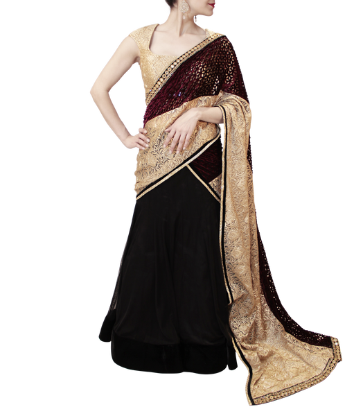 BLACK AND PLUM LEHENGA SAREE