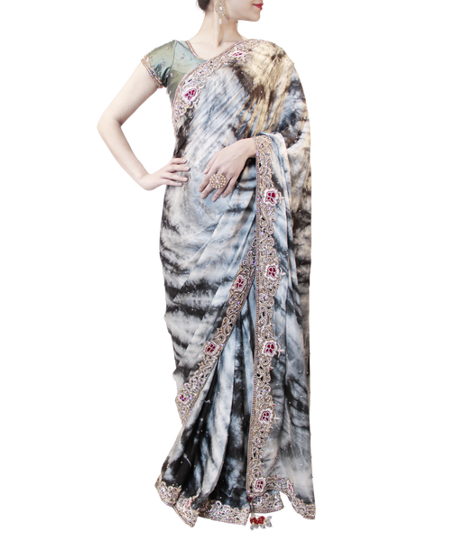 GREY TYE-DYE SAREE